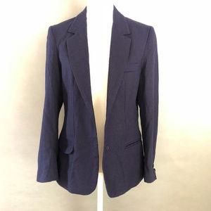 Oscar de la Renta Blue Wool Two-Button Blazer 16
